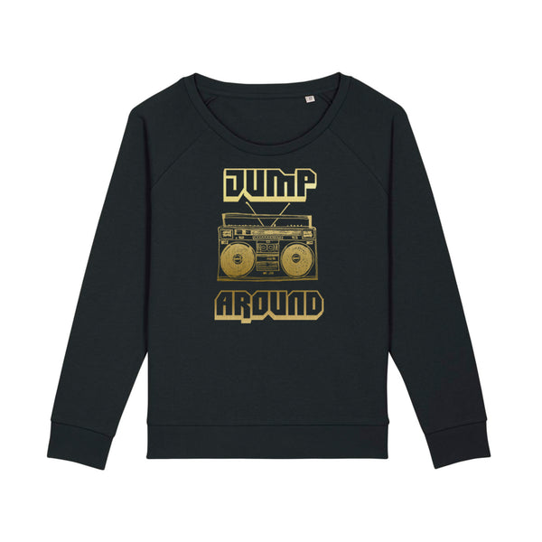Jump Around Ladies Sweatshirt Black Loose Fit