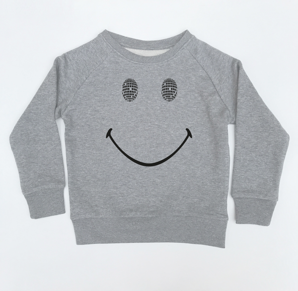 Disco Smile Kids Sweatshirt Marl Grey