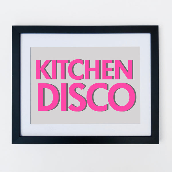 Kitchen Disco Bright Pink Font Print