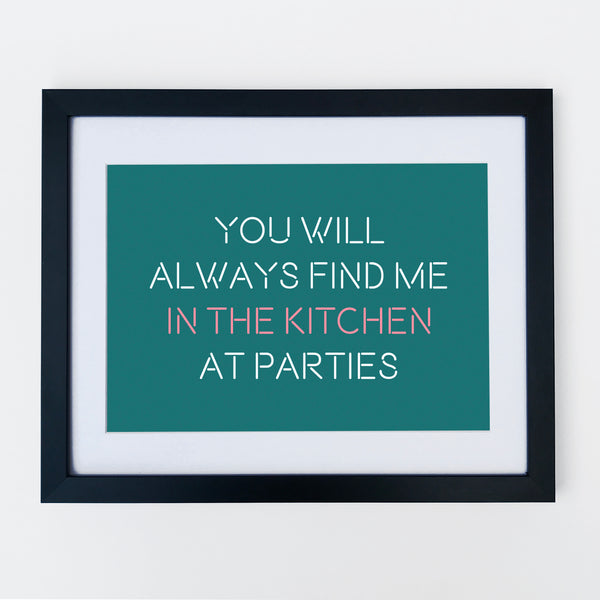 Kitchen Party Print Teal