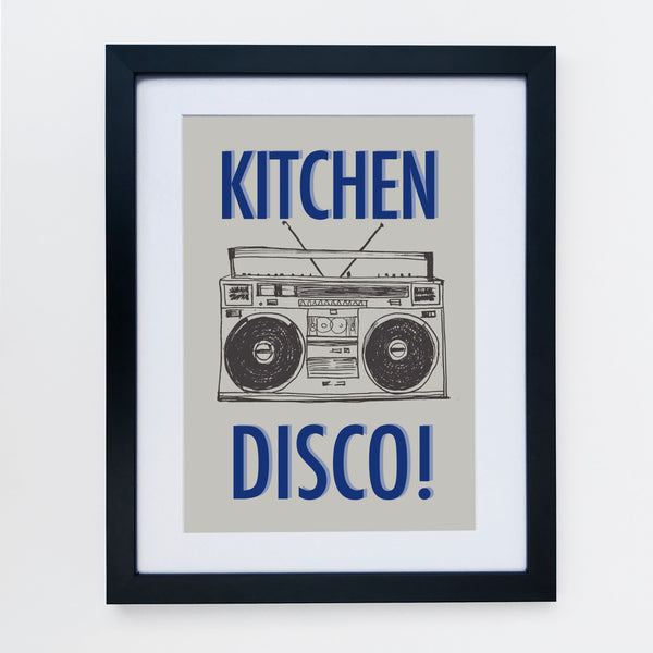Kitchen Disco Grey / Blue Print