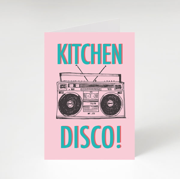 Kitchen Disco Greetings Card Pink