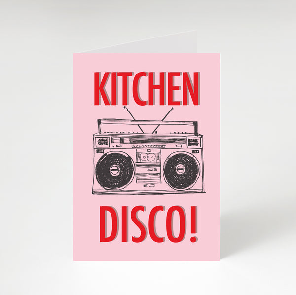 Kitchen Disco Greetings Card Pink & Red