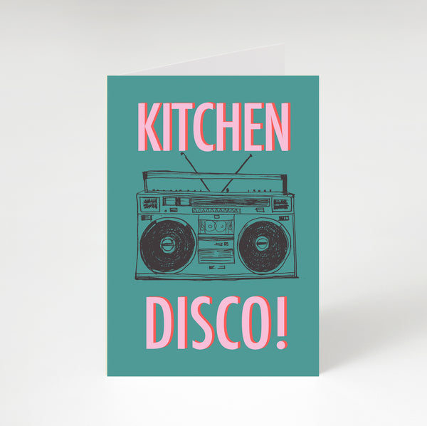 Kitchen Disco Greetings Card Teal