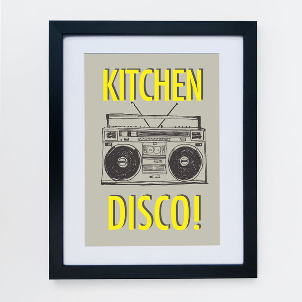 Kitchen Disco Grey / Yellow Print