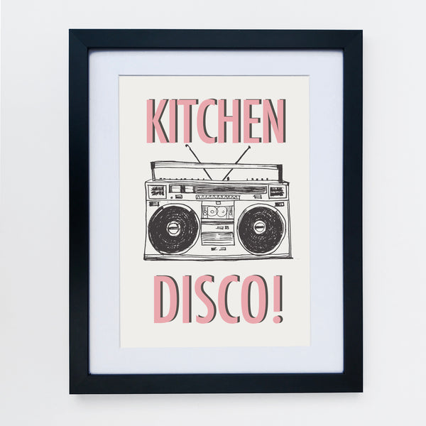 Kitchen Disco Light Grey & Pink Print