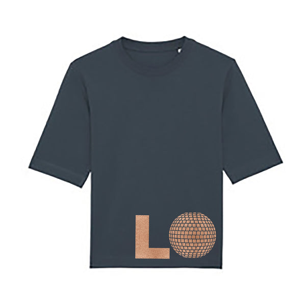 Big Love Mid Sleeve Ladies Charcoal T-shirt with Rose Gold Print