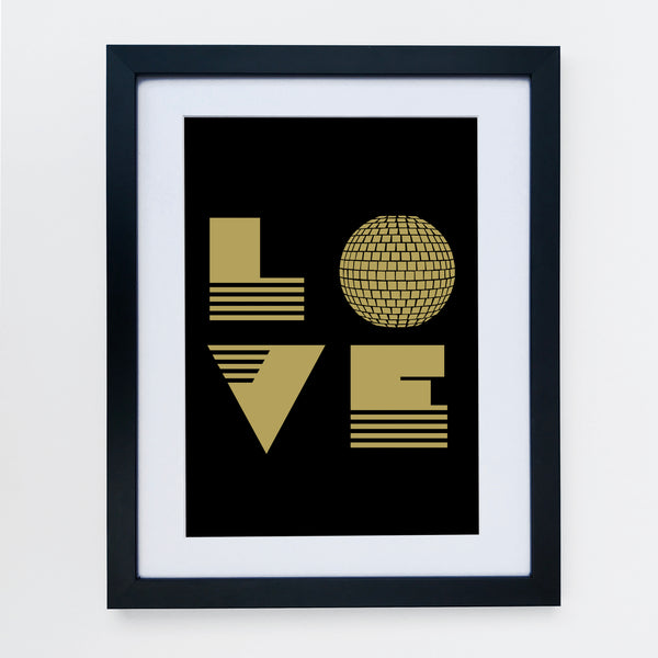 Love Is Print Black & Gold