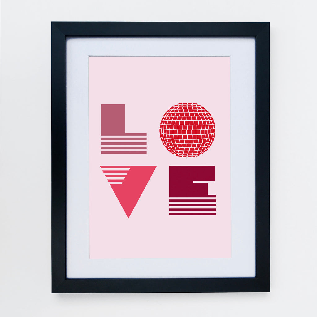 Love Is Print Pale Pink & Reds
