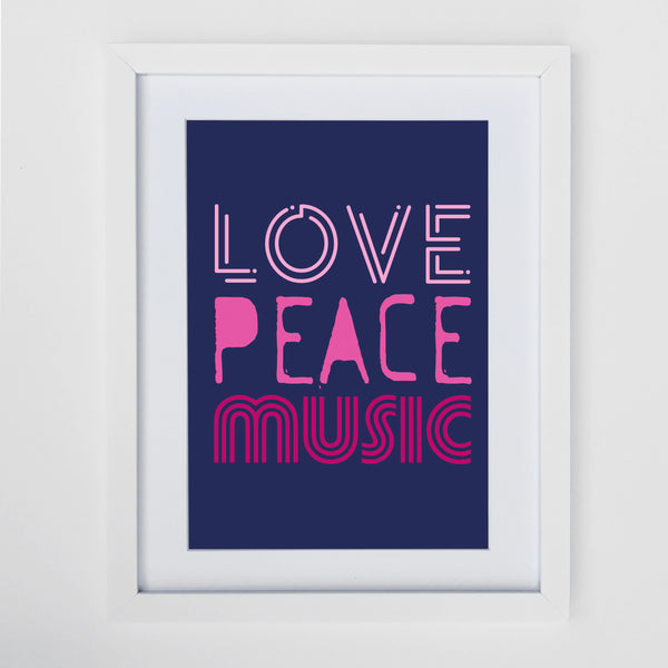 Love Peace Music Print Navy