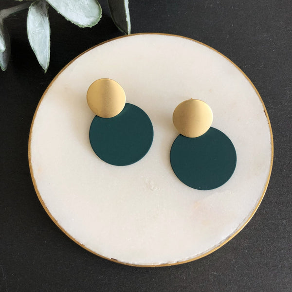 Matte Dark Green Disc Earrings Jack & Freda