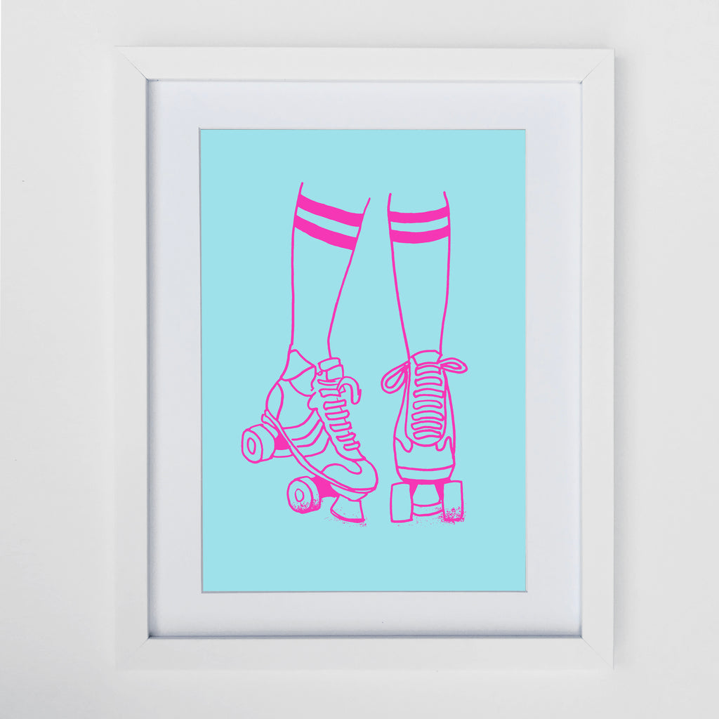 Roller Disco Turquoise Print