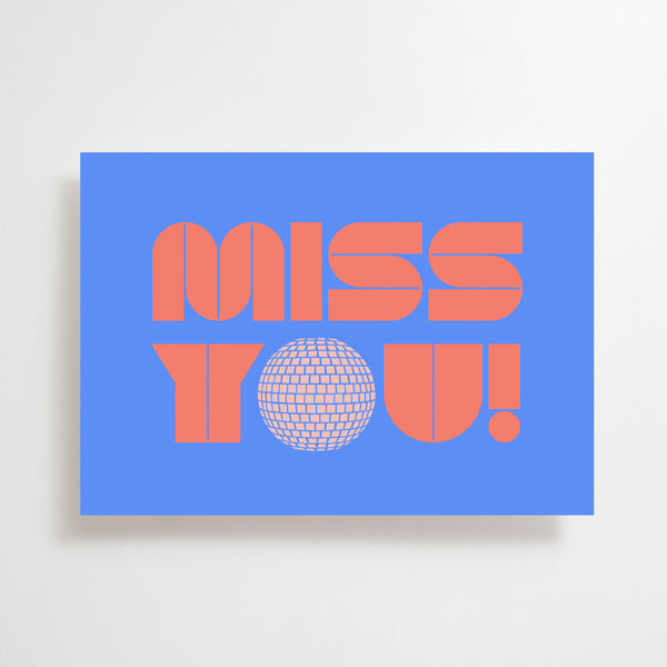 Miss You Greetings Card Blue