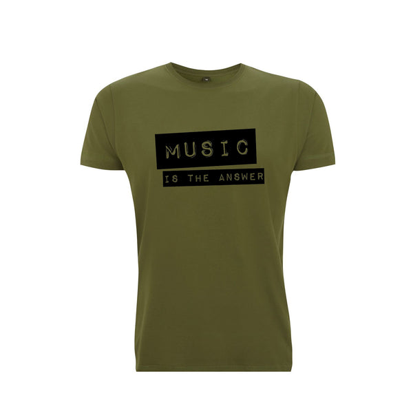 Music Is The Answer Mens T-shirt Forest Green