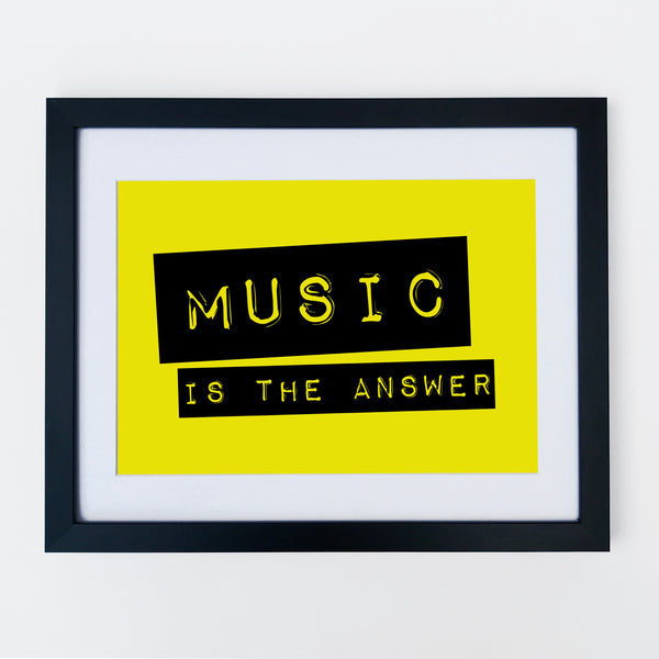 Music Is The Answer Print Fluorescent Yellow