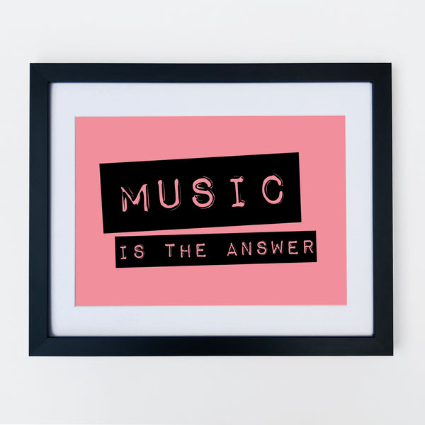 Music Is The Answer Print Rock Pink