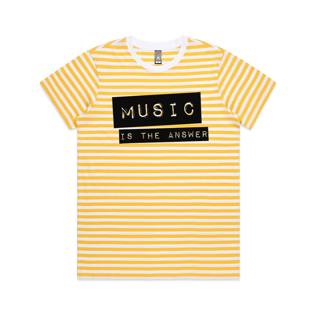 Music is the answer yellow striped Ladies Tshirt