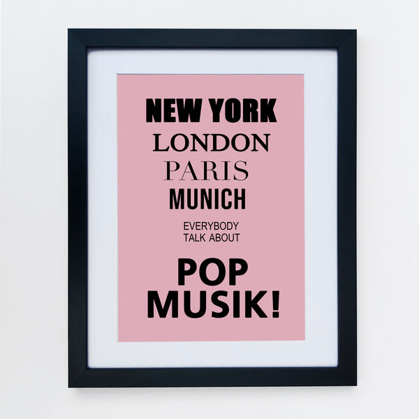 New York London Pop Music Pale Pink Print