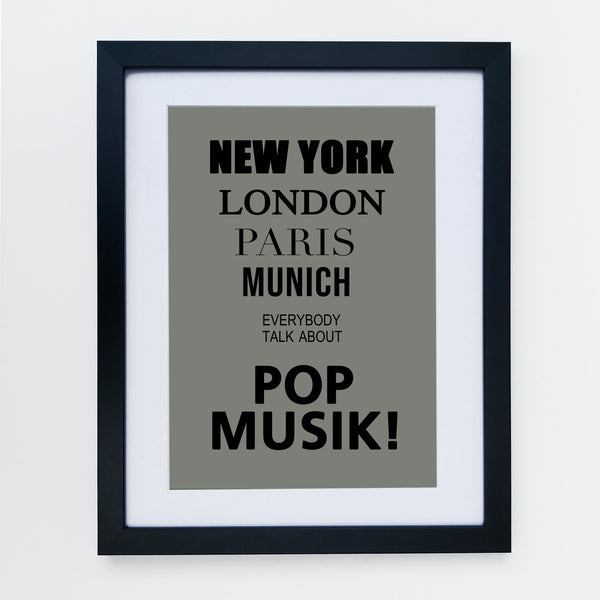 New York London Pop Music Grey Print