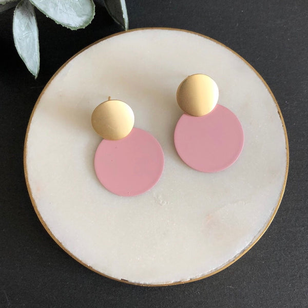 Matte Pale Pink Disc Earrings Jack & Freda
