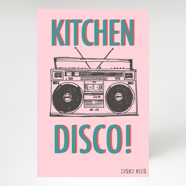 Kitchen Disco Tea Towel Pink