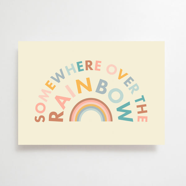 Somewhere Over the Rainbow Greetings Card Pastel