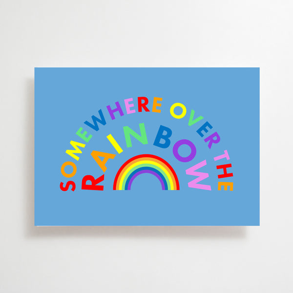 Somewhere Over the Rainbow Greetings Card Red