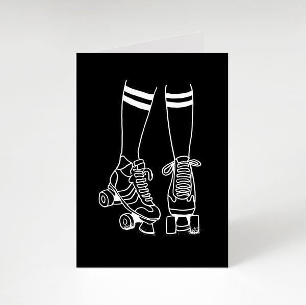 Roller Disco Greetings Card Black