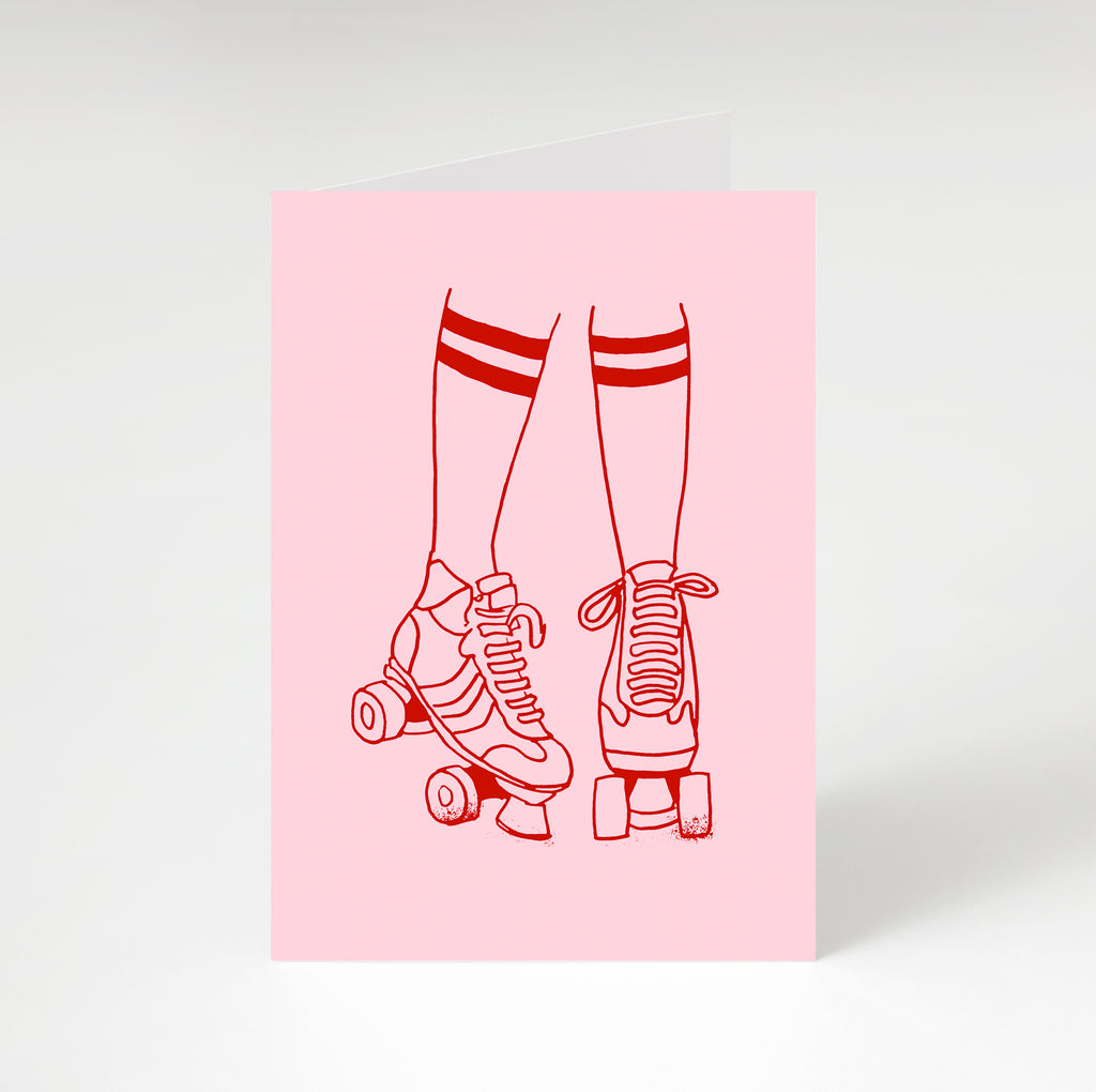 Roller Disco Greetings Card Pink