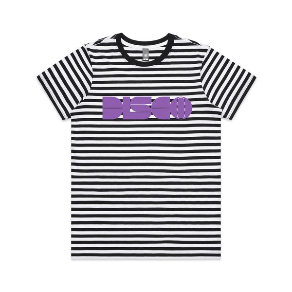 DISCO Black Striped Ladies Tshirt Purple Print