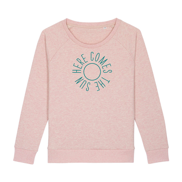 Here Comes The Sun Ladies Loose Fit Sweatshirt Pale Pink Marl