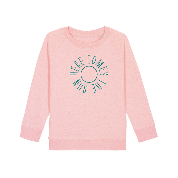 Here Comes The Sun Kids Sweatshirt Pale Pink