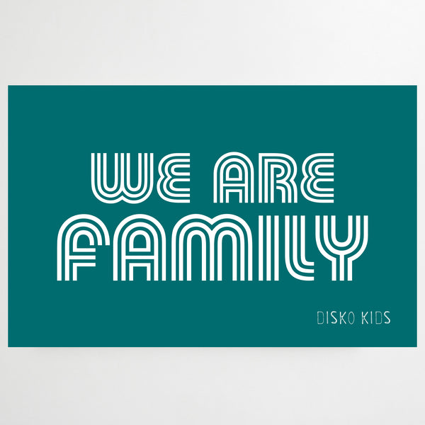 We Are Family Tea Towel Teal