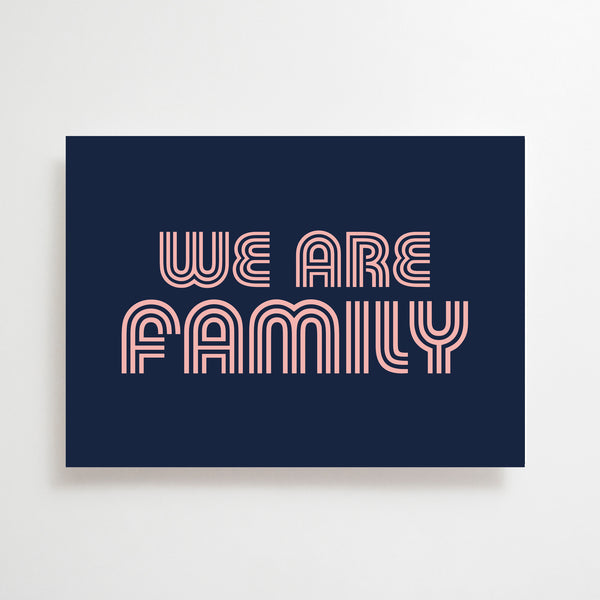 We Are Family Greetings Card Navy / Pink