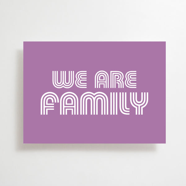 We Are Family Greetings Card Purple
