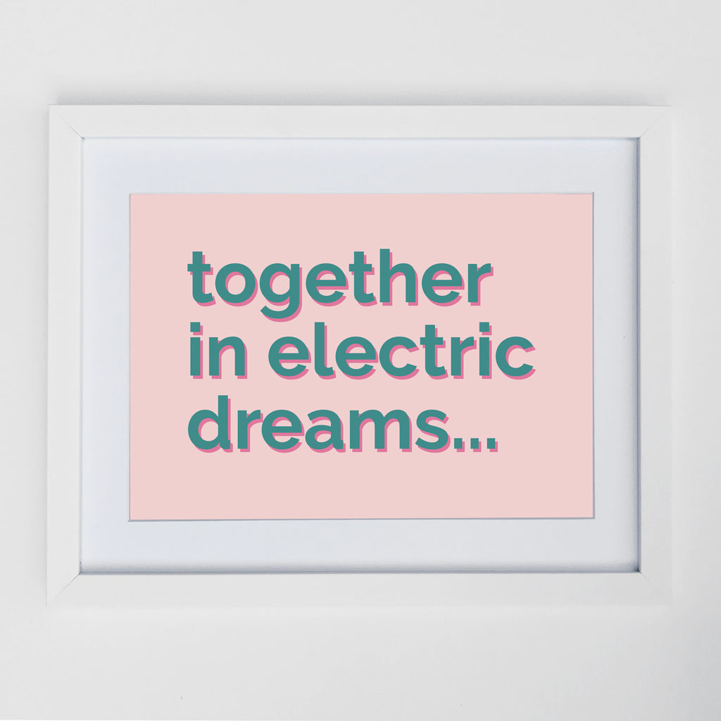Together In Electric Dreams Print Pale Pink & Teal