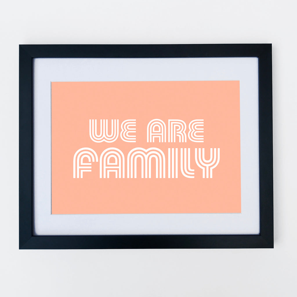 We Are Family Print Coral