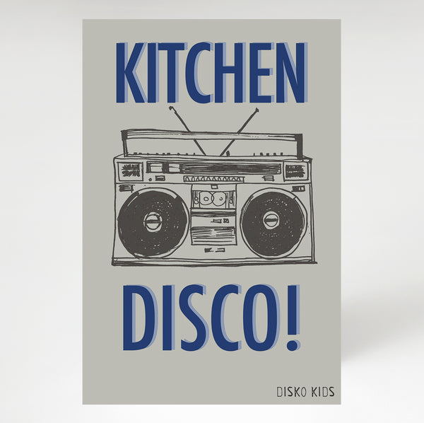 Kitchen Disco Tea Towel Grey & Navy