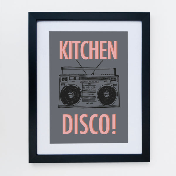 Kitchen Disco Charcoal / Peach Print
