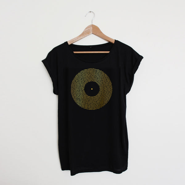 Record Ladies Black / Gold Tshirt