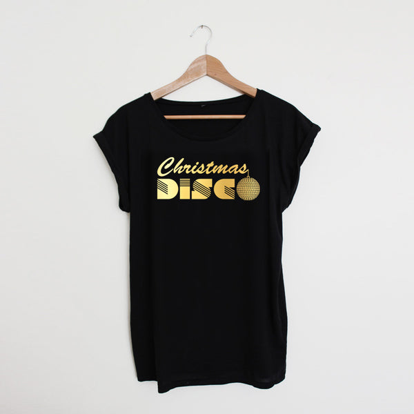 Christmas Disco Black / Gold Ladies T-shirt  * Large left