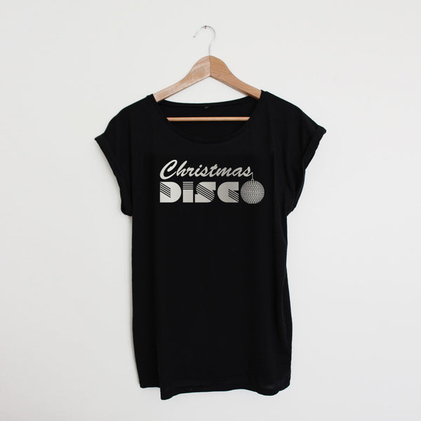 Christmas Disco Black / Silver Ladies T-shirt