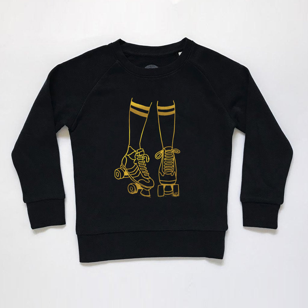 Roller Disco Kids Sweatshirt Black / Gold