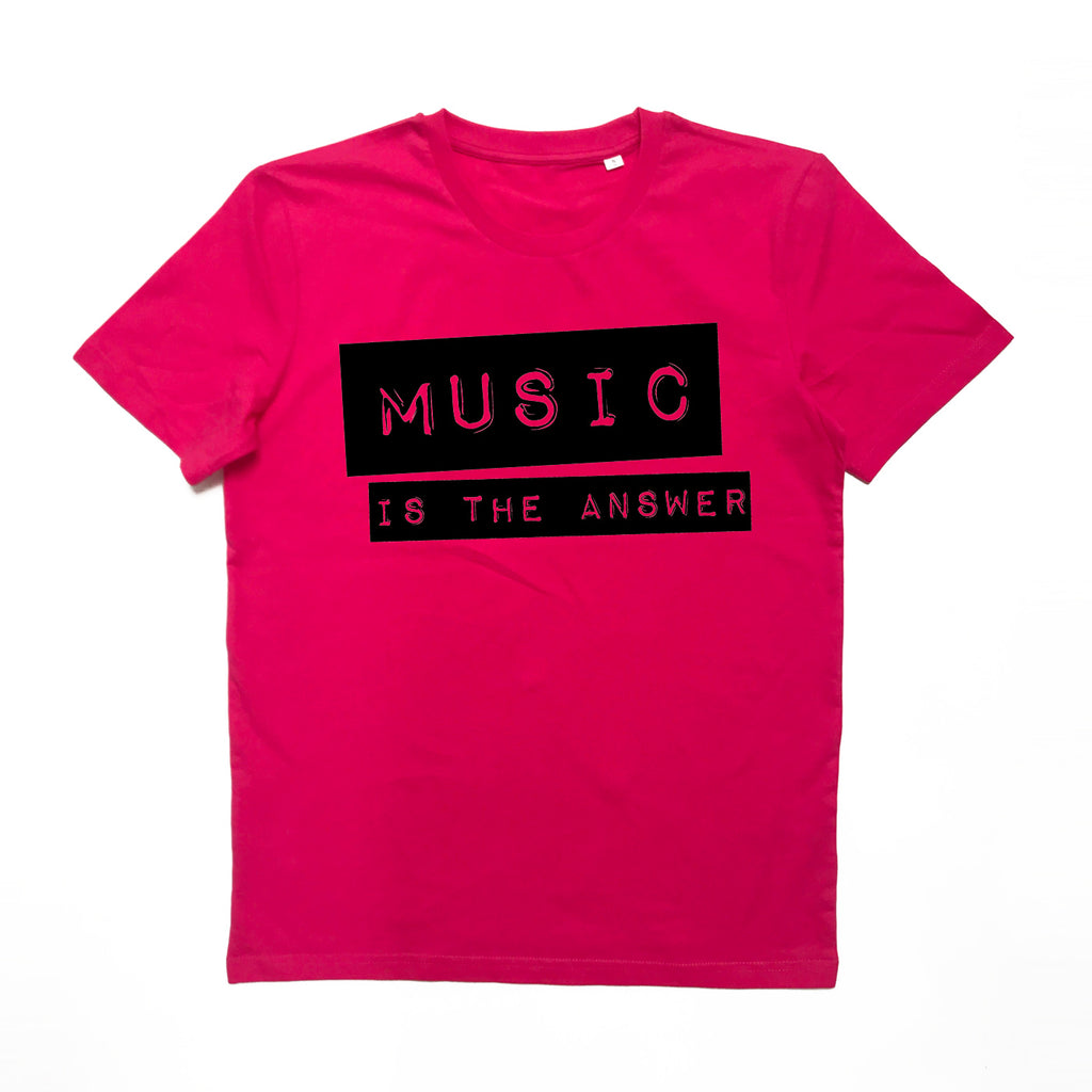 Music Is The Answer Ladies T-shirt Pink x XS left x