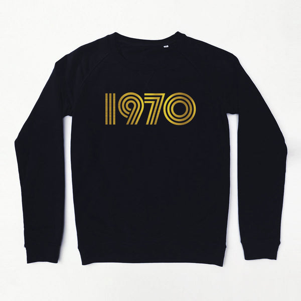 1970 Ladies Sweatshirt Black Slim Fit