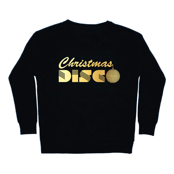 Christmas Disco Ladies Sweatshirt Black Loose Fit