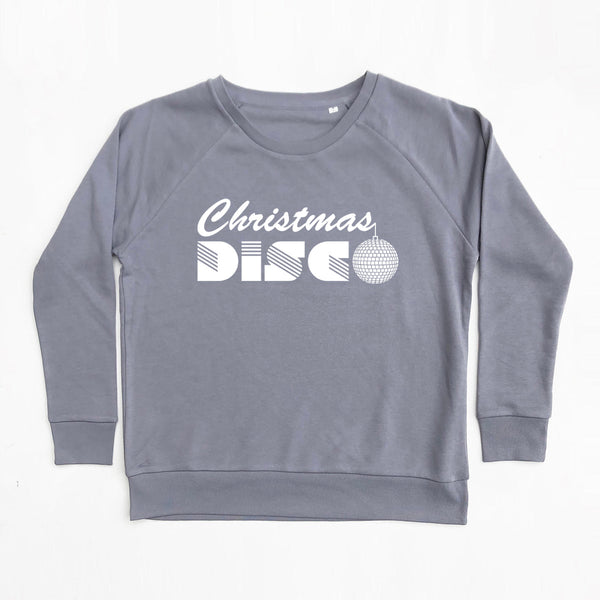 Christmas Disco Ladies Sweatshirt Grey Loose Fit