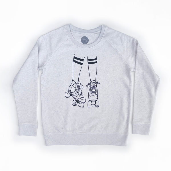 Roller Skates Ladies Sweatshirt Vintage White