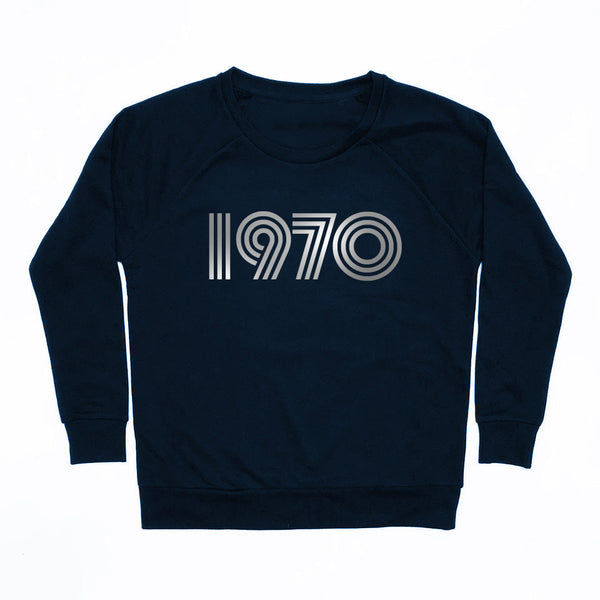 1970 Navy Ladies Sweatshirt Loose Fit
