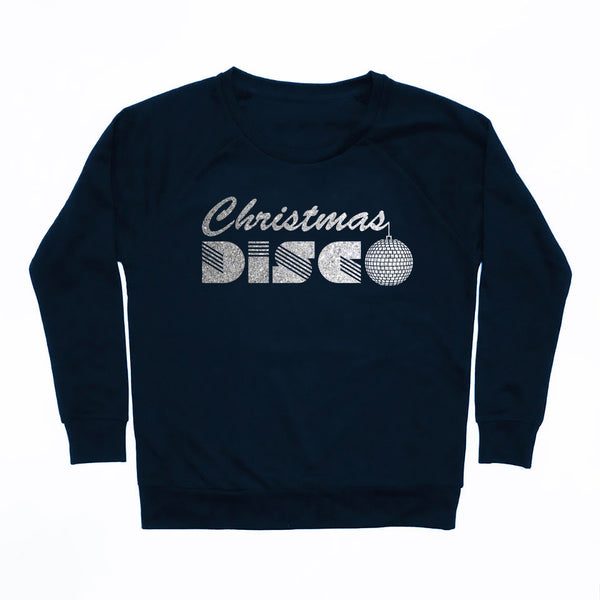 Christmas Disco Ladies Sweatshirt Navy